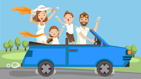 Ilustración de Happy family traveling by Blue car Convertible. People set father, mother and children.Waving, smiling and laughing. sitting in automobile and standing together. Family Vector illustration - Imagen libre de derechos