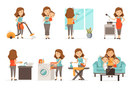 Illustration pour Smiling housewife and happy activities Set of affairs woman. Baby care ,irons, vacuums, cleans, cooks,Wash dishes,Wipe the mirror, brings up children, video call. Isolated on white background - image libre de droit