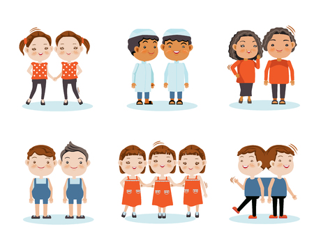 Illustration pour Cute little smiling boys twin, girl twins, triplets, twins stick together. Vector illustration, isolated on white background. - image libre de droit