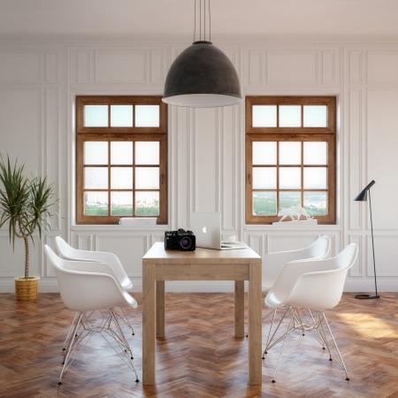 Foto de Elegance Dining Room With Classic Wooden Table And Cozy Chairs - Imagen libre de derechos