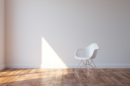 Photo pour Stylish White Chair In Minimalist Style Interior - image libre de droit