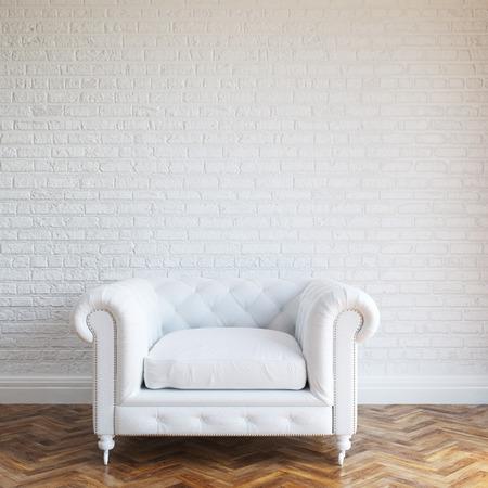 Foto de White Walls Brick Interior With Classic Leather Armchair - Imagen libre de derechos