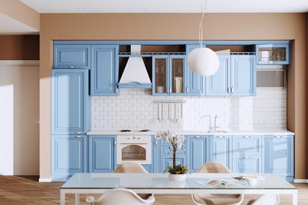 Photo pour Beautiful Blue Classic Kitchen in new Luxury Home with  Hardwood Floors, and Vintage Appliances 3d render - image libre de droit