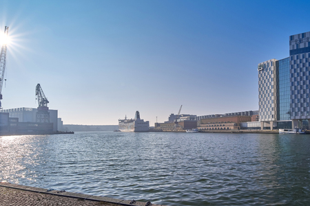 Foto per View of the molar port in Helsinki, Finland on a sunny morning - Immagine Royalty Free