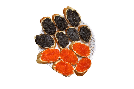 Photo pour Sandwiches with black and red caviar, concept of wealth and well-being - image libre de droit