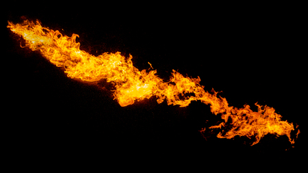 Photo for Dragon breathing flame, fire stream isolated on black - Royalty Free Image