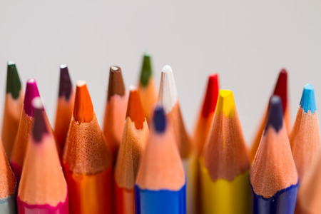 Foto für snapshot of pencils of different colors on a gray background, with a small depth of field, macro. - Lizenzfreies Bild