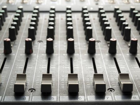 Photo for Mixing desk, back lit,  , for music and sound , entertainment themes - Royalty Free Image