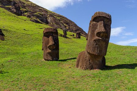 Photo for South America. Easter Island. Mountains. Statues. - Royalty Free Image