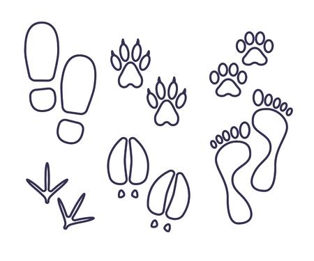 Ilustración de Traces of human and amimals, outline tracks, trials of cat, dog, bird, cow, human vector - Imagen libre de derechos