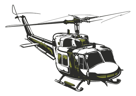 Illustration pour Modern isolated vector illustration helicopter on white background in dark gray and army green colors. - image libre de droit