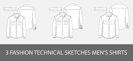 Ilustración de 3 Fashion technical sketches men's shirt with long sleeves and patch pockets in vector. - Imagen libre de derechos