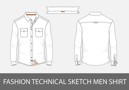 Ilustración de Fashion technical sketch men shirt with long sleeves and patch pocketsr. - Imagen libre de derechos