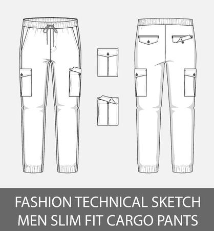 Illustration pour Fashion technical sketch, men slim fit cargo pants with 2 patch pockets - image libre de droit