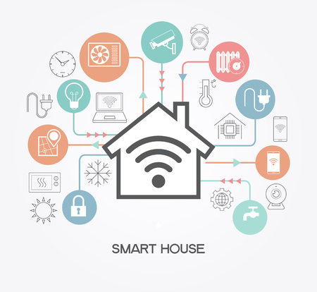 Illustrazione per Smart home control concept. Smart house infographic. Concept home with technology system. - Immagini Royalty Free