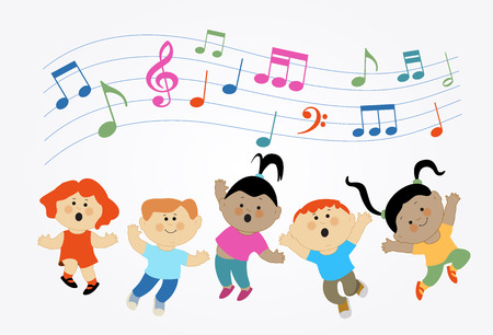 Illustration pour Cartoon children jumping and musical notes. Modern colorful design. Children who are jumping and singing - image libre de droit