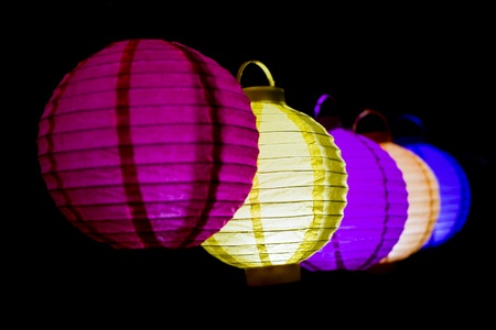 Photo pour Colorful lampions lantern in the dark of night. - image libre de droit