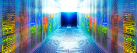 Foto de symmetric server room with modern communication and server equipment - Imagen libre de derechos