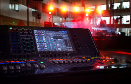 Photo for Working sound panel on background of the concert stage - Royalty Free Image