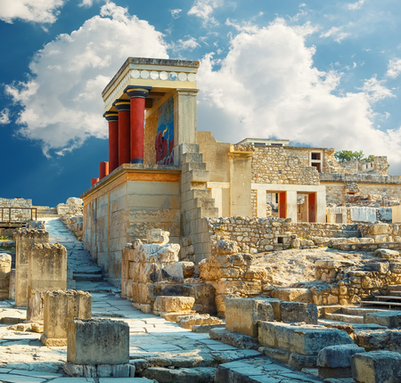 Photo for Knossos palace at Crete. Heraklion, Crete, Greece. Detail of ancient ruins of famous Minoan palace of Knossos. - Royalty Free Image