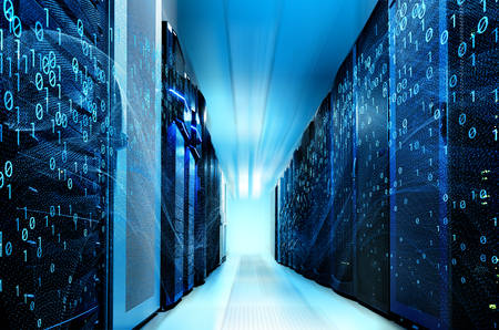 Foto per modern data center with rows different communication equipment - Immagine Royalty Free