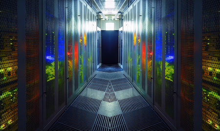 Photo pour communication equipment room with lighting in data center - image libre de droit