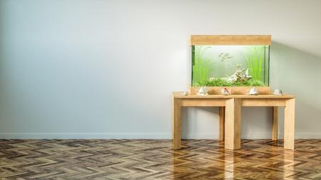 Photo pour Fresh water aquarium in bright empty room 3d render - image libre de droit