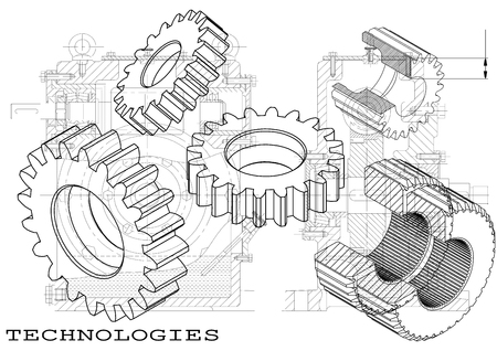Ilustración de Drawings of cogwheels on a black background - Imagen libre de derechos