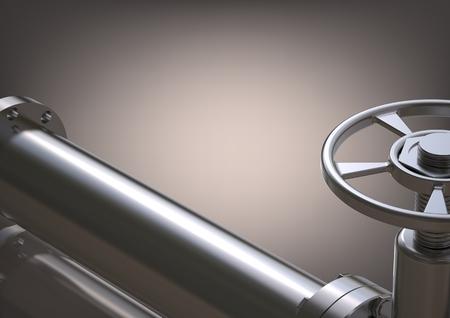 Photo pour Silver pipeline on a gray background. 3D rendering - image libre de droit