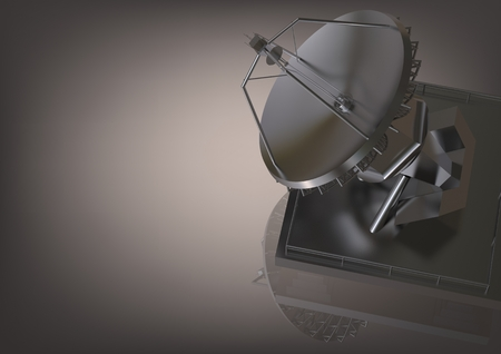 Foto de Silvery satellite dish on a gray background. 3D rendering - Imagen libre de derechos