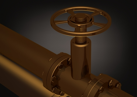 Photo pour Golden pipeline on a black background. 3D rendering - image libre de droit