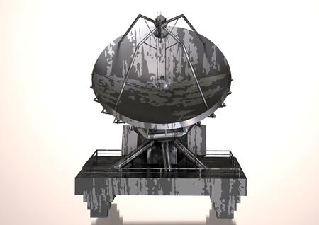 Foto de Silver and black satellite dish on a white background. 3D rendering - Imagen libre de derechos