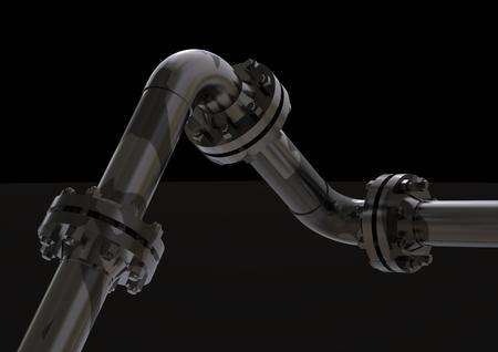 Photo pour Silver and black pipeline on a black background. 3D rendering - image libre de droit