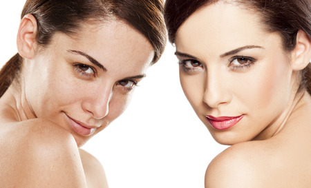 Photo for Comparison portrait of a woman without and with makeup - Royalty Free Image