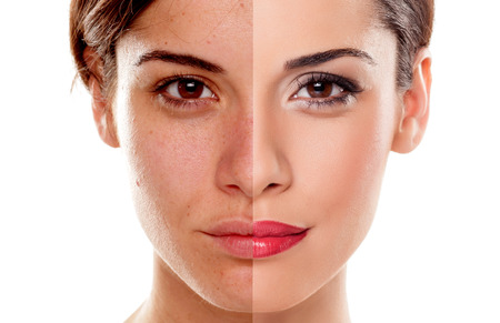 Foto de Comparison portrait of a woman without and with makeup - Imagen libre de derechos