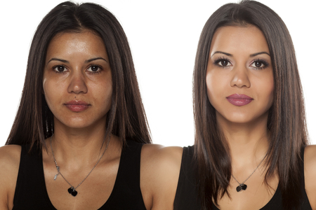 Photo for Comparison portrait of an exotic beautiful woman without and with makeup - Royalty Free Image