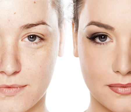 Photo pour Comparison portrait of a woman without and with makeup - image libre de droit
