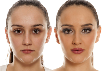Photo pour comparing female face without and with makeup on white background - image libre de droit