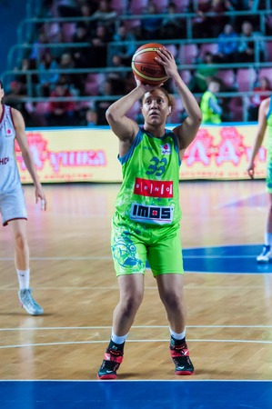 Photo pour ORENBURG - 3 December: Match of the Euroleague Basketball FIBA womens Nadezhda (Orenburg region) - Imos Brno (Czech Republic) 3 December 2014 in ORENBURG, ORENBURG region, RUSSIA. - image libre de droit