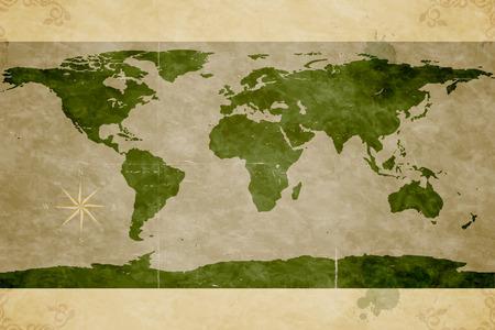 Illustration pour Map of the World. Old paper texture - image libre de droit