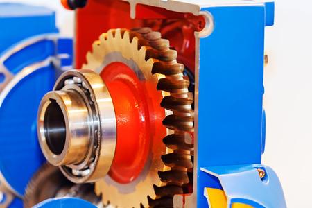 Foto de Gearbox on large electric motor at industrial equipment plant - Imagen libre de derechos