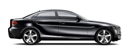 Photo pour Black sedan car  side view - image libre de droit