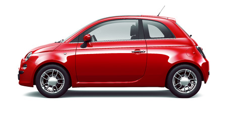 Red city car  side view