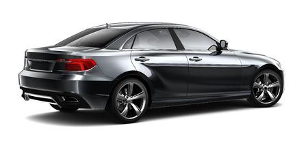 Photo pour Black sedan car - rear view - image libre de droit