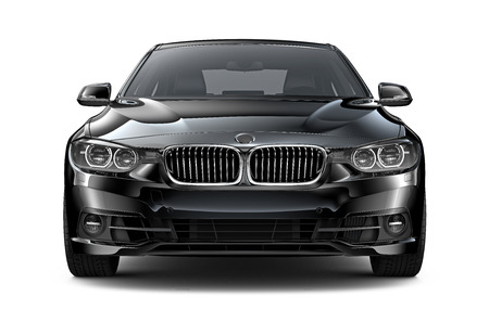 Photo pour Black executive car - front view - image libre de droit
