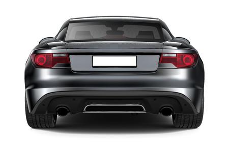 Photo pour Black sports coupe car - rear angle - image libre de droit