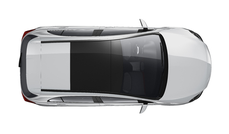 Photo for Silver hatchback car - top view - Royalty Free Image