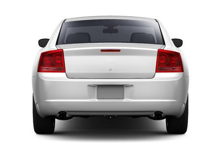 Photo pour White sedan car - rear view - image libre de droit