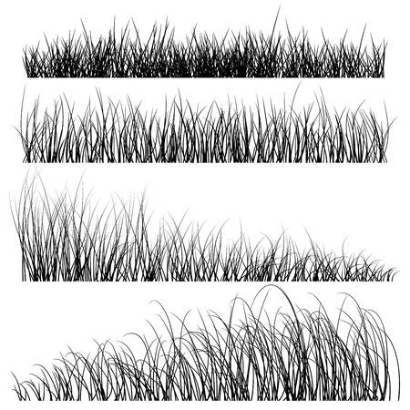 Illustration pour Set of grass silhouettes backgrounds - image libre de droit