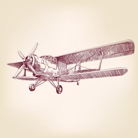 Ilustración de airplane vintage hand drawn vector llustration realistic sketch - Imagen libre de derechos